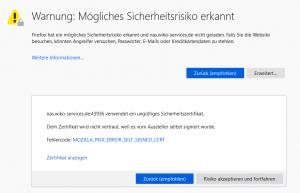 Erweiterte Warnmeldung von Firefox